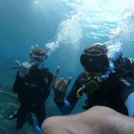 2 Scuba Divers diving in the Adriatic Sea from the Silba Island Marine Conservation Base and Dive Centre in Croatia
