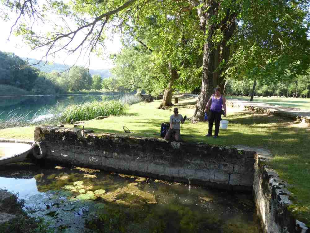 2 People Monitoring Freshwater wildlife at Krka National Park in Croatia